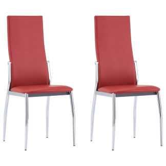 vidaXL Valgomojo kėdės, 2 vnt., raudonos spalvos, dirbtinė oda