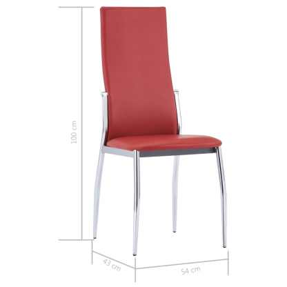 Valgomojo kėdės, 2 vnt., raudonos spalvos, dirbtinė oda