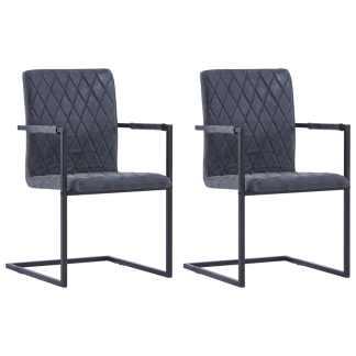 vidaXL Valgomojo kėdės, 2 vnt., juodos sp., dirbt. oda, gembinės