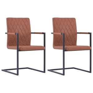 vidaXL Valgomojo kėdės, 2 vnt., rudos sp., dirbtinė oda, gembinės