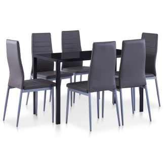 vidaXL Septynių dalių valgomojo baldų rinkinys, pilkos spalvos