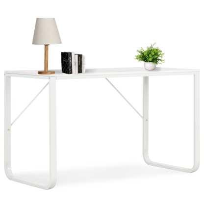 vidaXL Kompiuterio stalas, baltas, 120x60x73cm