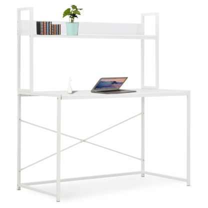 vidaXL Kompiuterio stalas, baltas, 120x60x138cm
