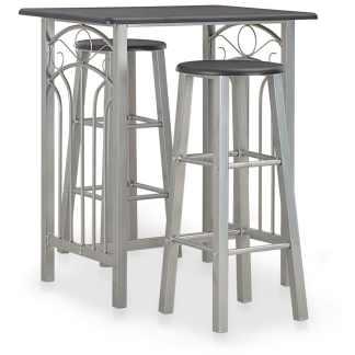 vidaXL Baro baldų komplektas, 3 d., juodos spalvos, mediena ir plienas