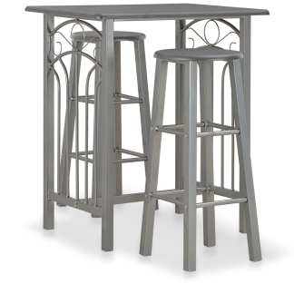 vidaXL Baro baldų komplektas, 3 d., antracito sp., mediena ir plienas