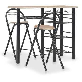 vidaXL Baro baldų komplektas su lentynomis, 3 d., mediena ir plienas