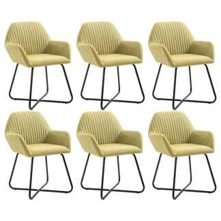 vidaXL Valgomojo kėdės, 6 vnt., žalios, audinys (3×249812)