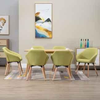 vidaXL Valgomojo kėdės, 6 vnt., žalios spalvos, audinys (3×283464)