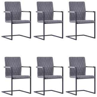 vidaXL Valgomojo kėdės, 6 vnt., tams. pilkos sp., dirbt. oda, gembinės