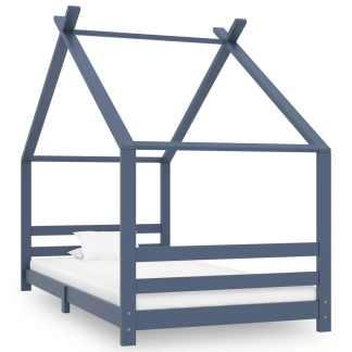 vidaXL Vaikiškas lovos rėmas, pilkos spalvos, 90x200cm, pušies masyvas