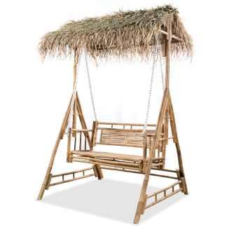 vidaXL Dvivietės sūpynės su palmių lapais, bambukas, 202cm