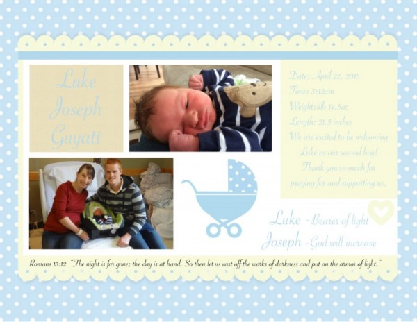 Luke's Birth Announcement