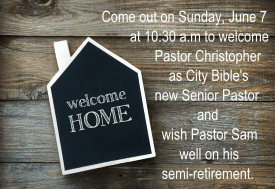 welcome home chalk board on wood - pastor christopher