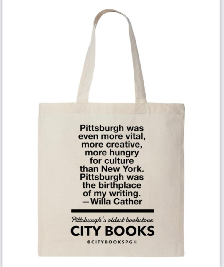 Off white tote bag with Willa Cather quote