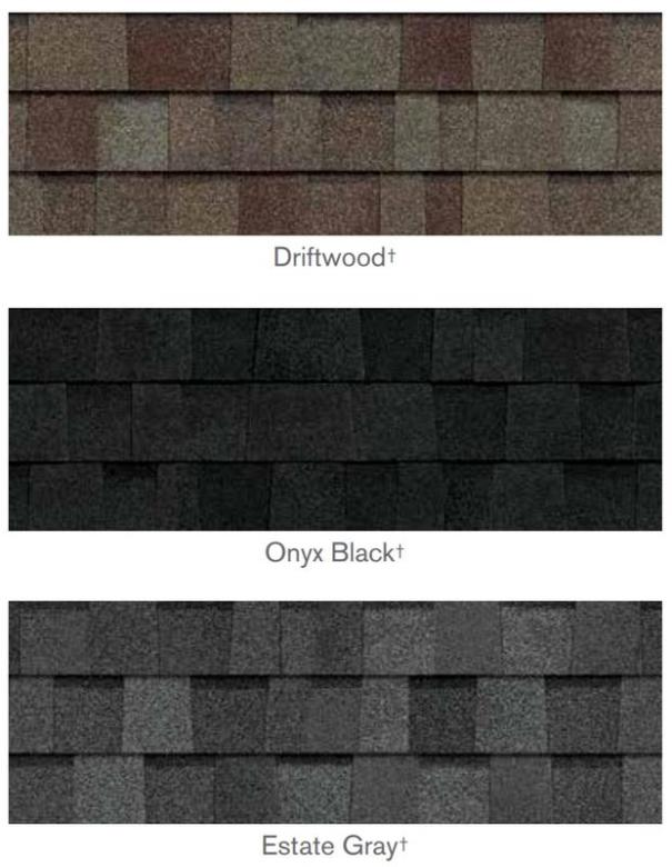 owens corning DURATION STORM SHINGLE colors