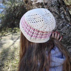 natural white cotton hat