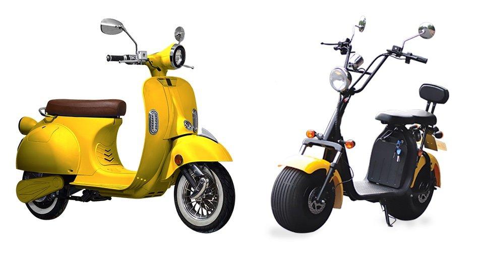 CityCoco električni skuteri- žuta boja. Snaga motora 1200-3000W, baterija 12-40Ah, domet 50-100 km s jednim punjenjem (ovisno o modelu). Jednostavno punjenje na kućnoj 220V utičnici. Homologirani, spremni za registraciju.