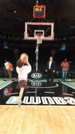 Girl shoots basketball Stand for Women