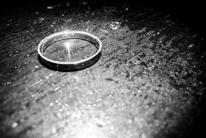 divorced wedding ring on table