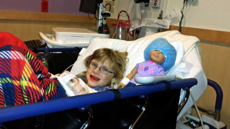 August Brandenberg recovering from her surgery at Children's Minnesota Hospital in Saint Paul