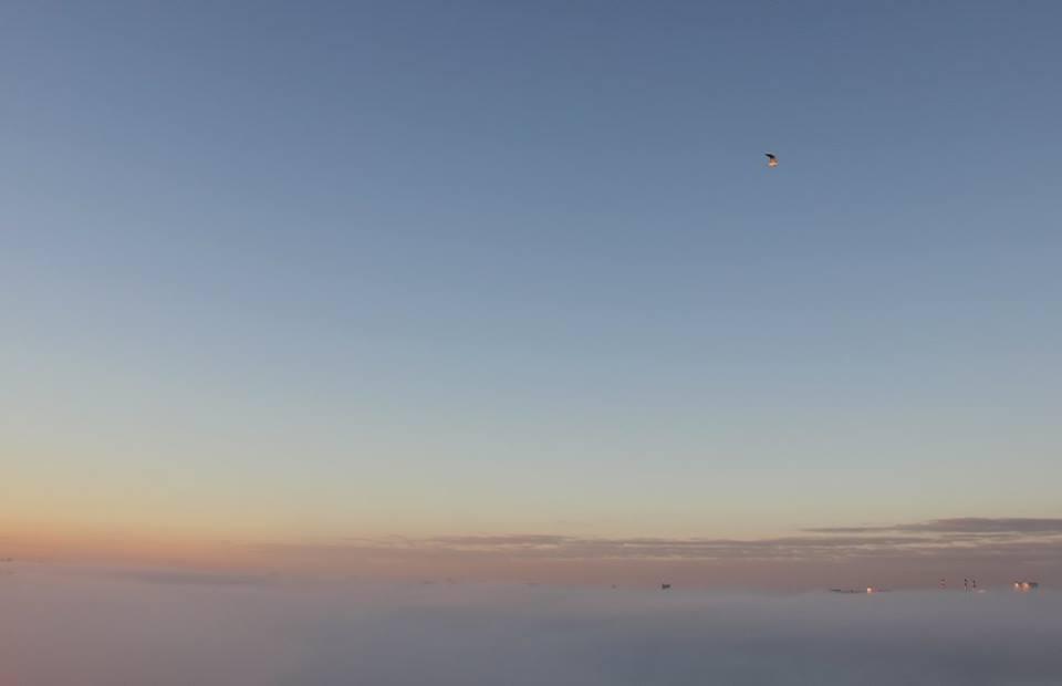 minsk vue du haut dans le brouillard