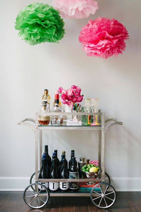 Waiting on Martha-Beautiful Vinateg Bar Cart Styling-Pom Poms