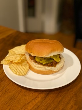 Sloppy Joes topped with bread and butter pickles- City Foodie Farm