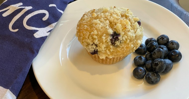 Blueberry muffins with a lemon crumb topping