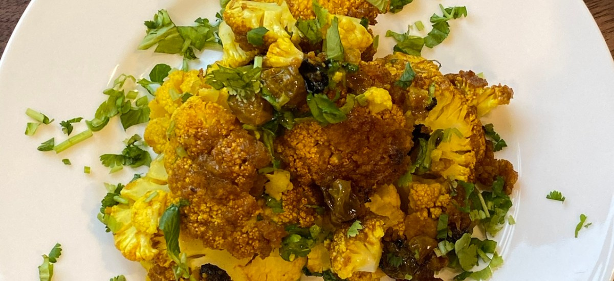 Whole Roasted Coconut Curried Cauliflower