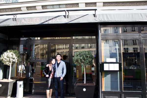 Grace and Jason in Front of L'Atelier de Joël Robuchon