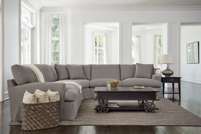 City Furniture Delilah Gray Fabric Large Two Arm Sectional