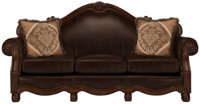 City Furniture Regal Dark Tone Leather Sofa