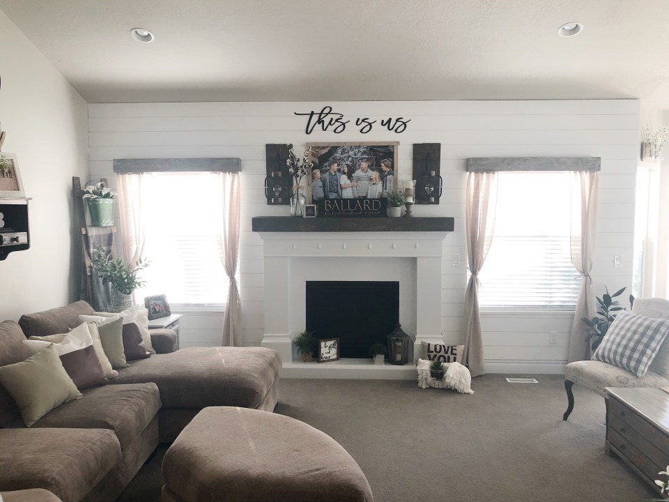 Living Room Renovation with Shiplap Walls