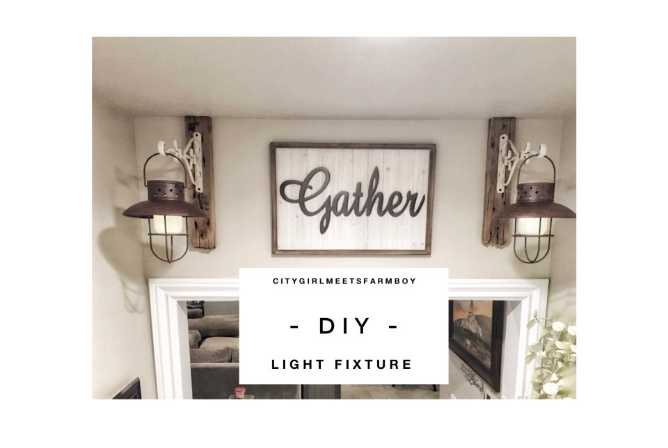 Farmhouse Wood Signs and Light Fixture