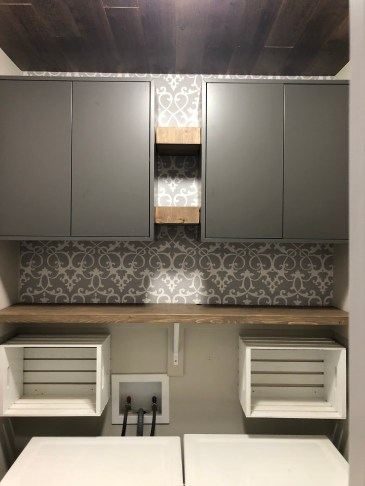 Laundry Room Design with Floating Shelves