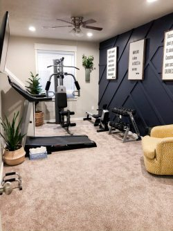 Home Gym and Modern Board and Batten Wall