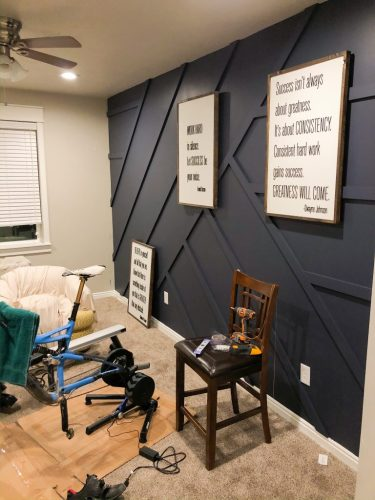 HGTV Home by Sherwin-Williams Blue Endeavour Color Line on Workout Room Modern Board and Batten Wall