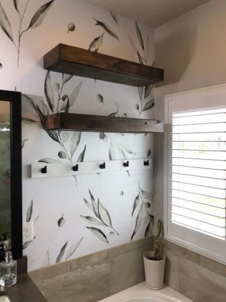 Floating Shelves in the Master Bathroom