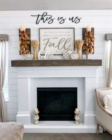 Fall Mantel and Living Room