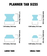 Smal and Large planner tabs dimensions