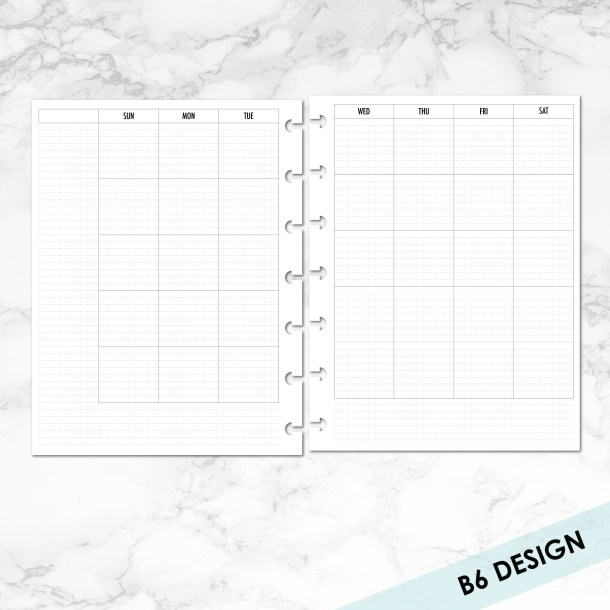 B6 disc month on 2 page with grid