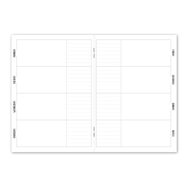 Week on 2 Pages Horizontal 2 Box Undated notebook