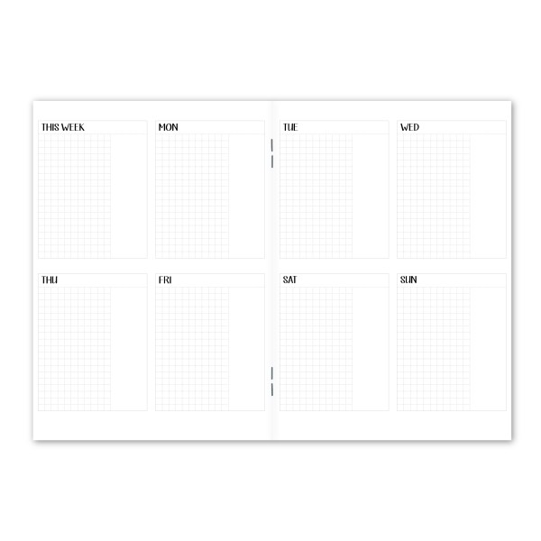 Week on 2 page Vertical 1 Box with grid