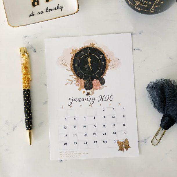 January 2020 Calendar card