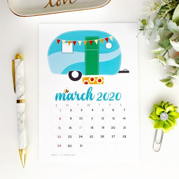 March 2020 calendar freebie