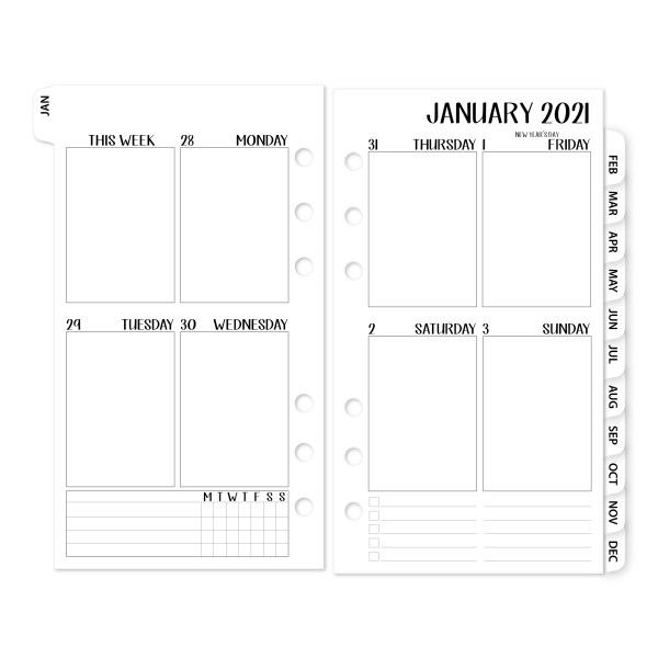 Personal Week on 2 Pages Vertical 2021 calendar with White Tabs