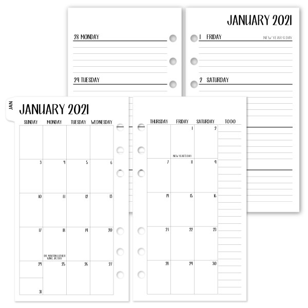 Pocket Complete Horizontal 2021 calendar with white tabs