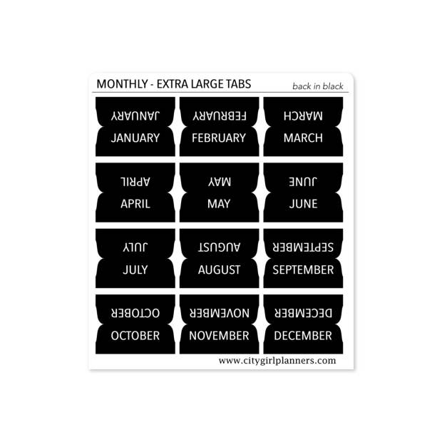 XL Monthly Planner Tabs Back in Black