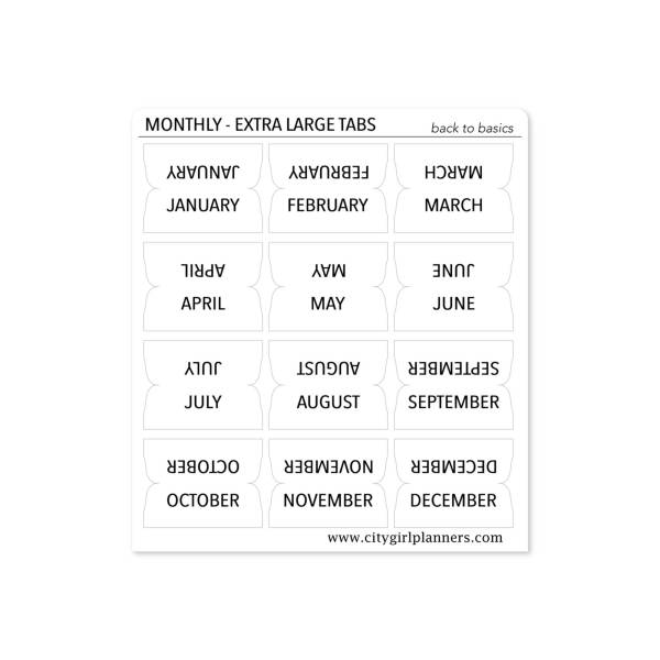 XL Monthly Planner Tabs Back to Basics