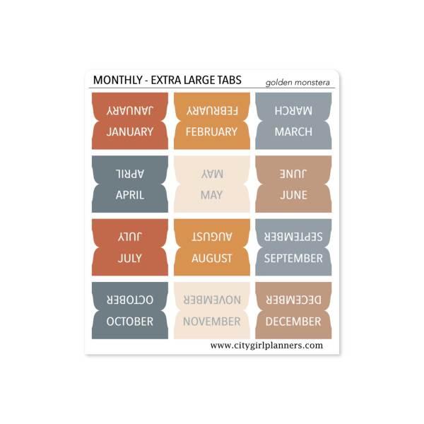 XL Monthly Planner Tabs Golden Monstera